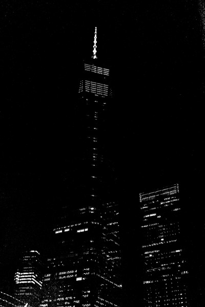 New World Trade Center Tower at Night in Black and White
