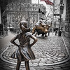Fearless Girl in from of Angry Bull