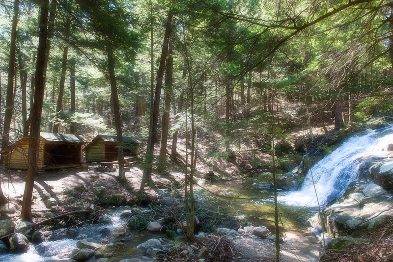 Lean-to's and waterfall at Stacy Brook, Camp 1.
