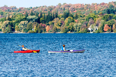Kayakers on Cazenovia Lake in Cazenovia, NY