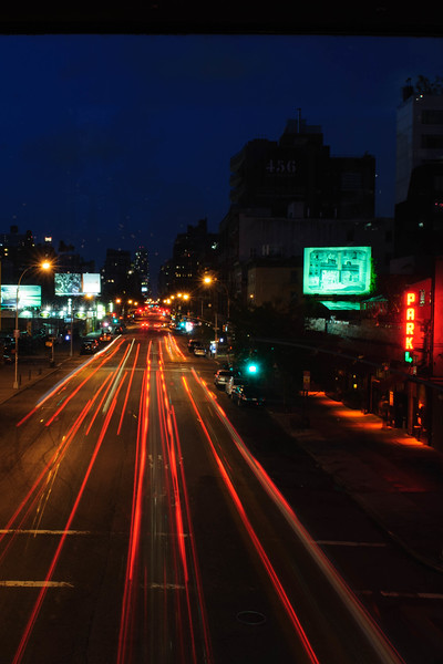View of 10th Avenue at night. Highline Park, New York