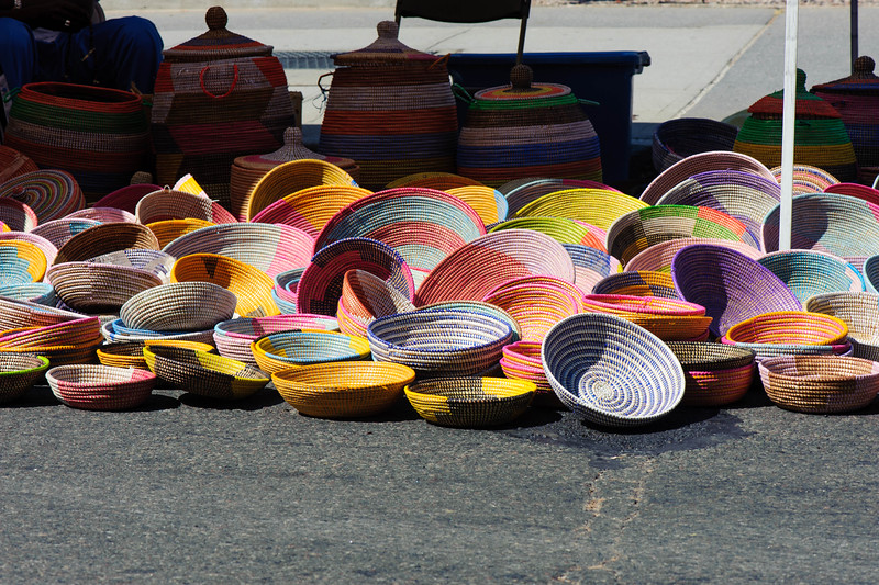 Columbus Avenue, New York. Street Fair. Multicolor baskets