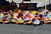 Columbus Avenue, New York. Street Fair. Multicolor baskets