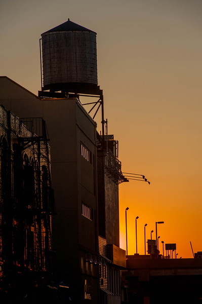 Rooftop Water Tank and Sunset