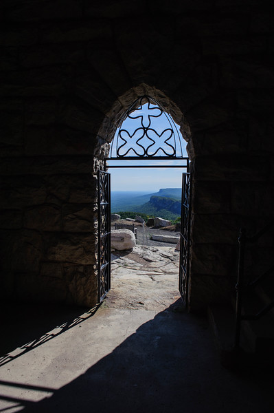 Interior view of the entrance door of the Smiley Tower. Mohonk Preserve, New York