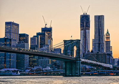 Brooklyn Bridge & Freedom Tower peach and purple twilight