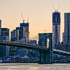 Brooklyn Bridge & Freedom Tower peach and purple twilight