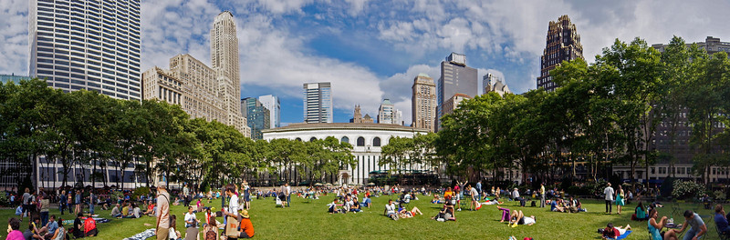 Bryant Park Saturday afternoon panorama
