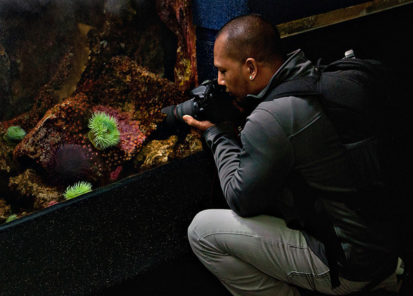 Antonio getting his award winning sea anemone pic.