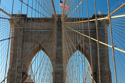 tower and cables of Brooklyn Bridge