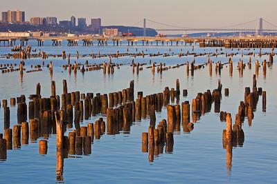 Hudson River pilings and George Washington Bridge 3