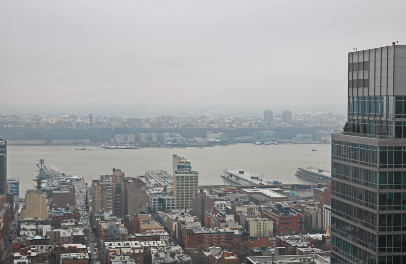 View of New York Harbor and the Intrepid