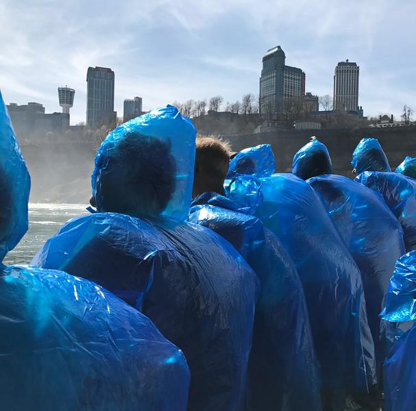 Blue Hooded Ponchos