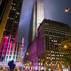 pedestrian approaching Radio City Music Hall midnight