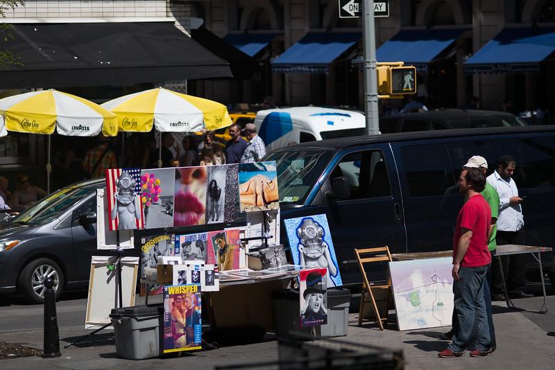 street artist admiring his work