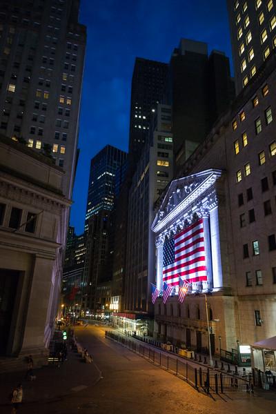 Wall Street at night
