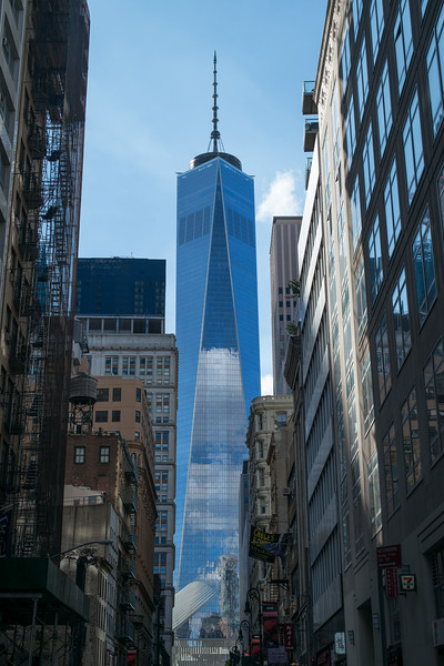 canyon view of World Trade Center from Fulton Street