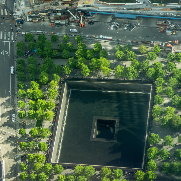 Wolrd Trade Center Memorial pool seen from new WTC