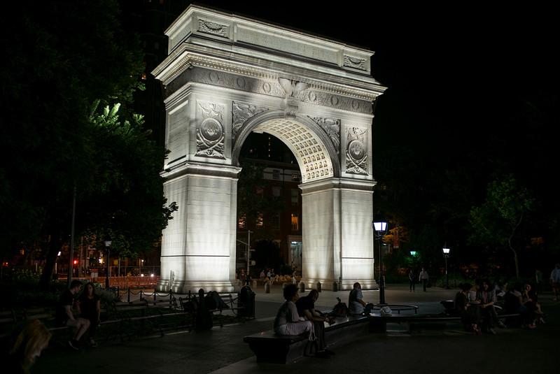 June night Washington Square arch