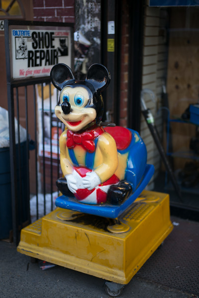 shoe repair store with Mickey Mouse ride Williamsburg