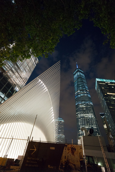 nighttime view of PATH station & WTC