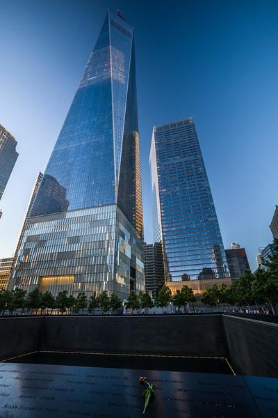 WTC 1 with memorial pool & rose