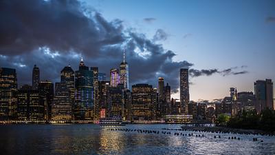 Manhattan skyline dusk beautiful spring evening