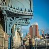 ornamented awning and walkway Manhattan Bridge