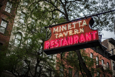 Minetta Tavern Restaurant neon sign