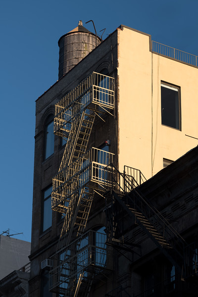 Tribeca building with fire escape & water tower