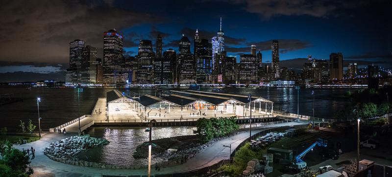 night view of East River & Manhattan from Brooklyn Promenade