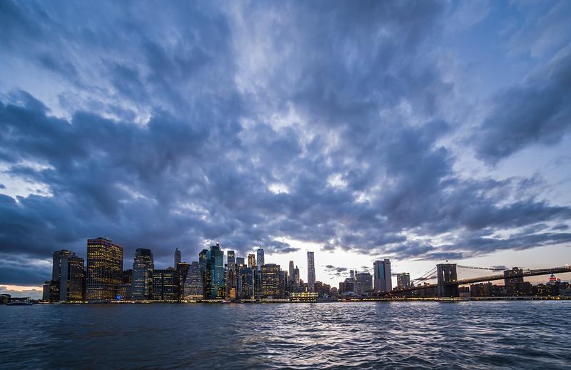 twilight lower Manhattan skyline from Brooklyn