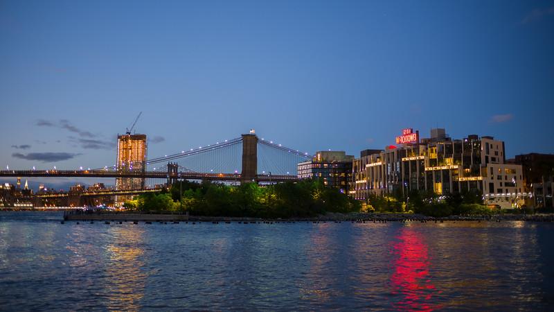dusk Brooklyn Bridge & Park with Watchtower sign