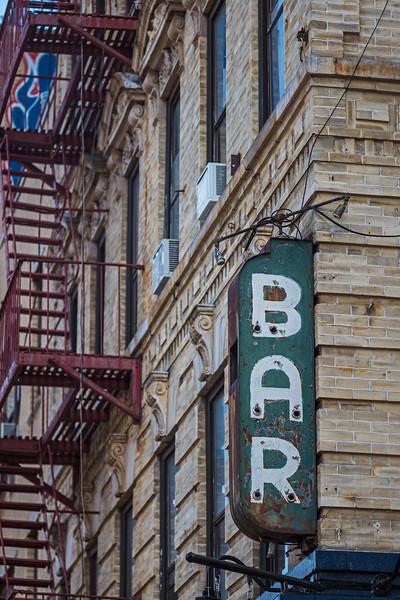 old broken neon Bar sign Delancey St color