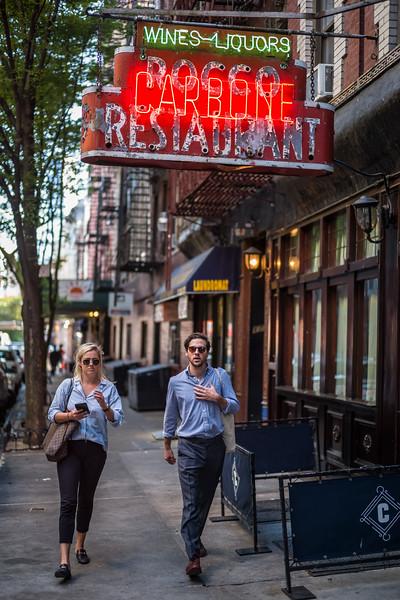 Carbone formerly Rocco Restaurant Greenwich Village w 2 pedestrians