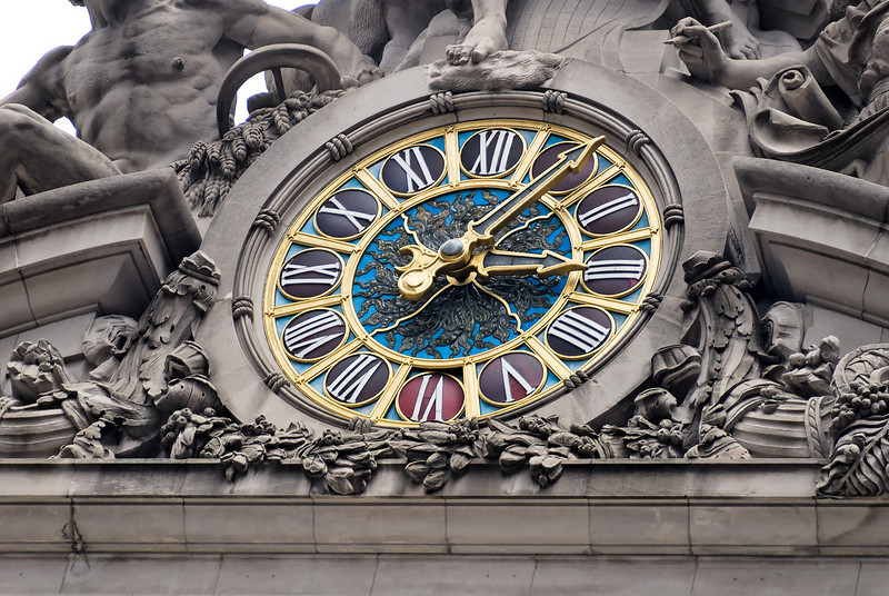 The face of the clock is Tiffany glass.