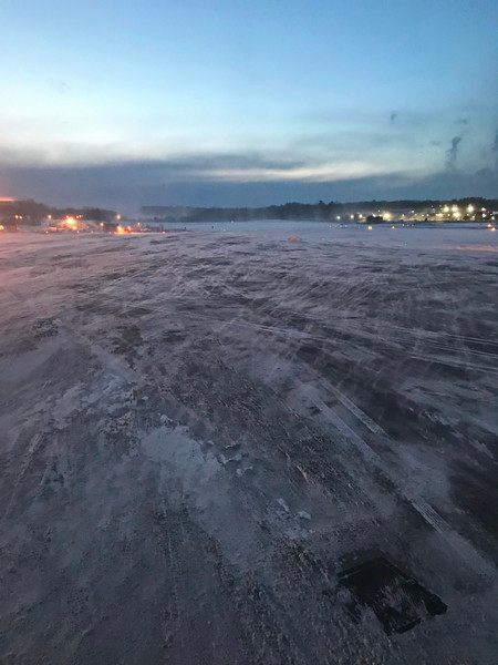 Blowing Snow on the Airport Runway
