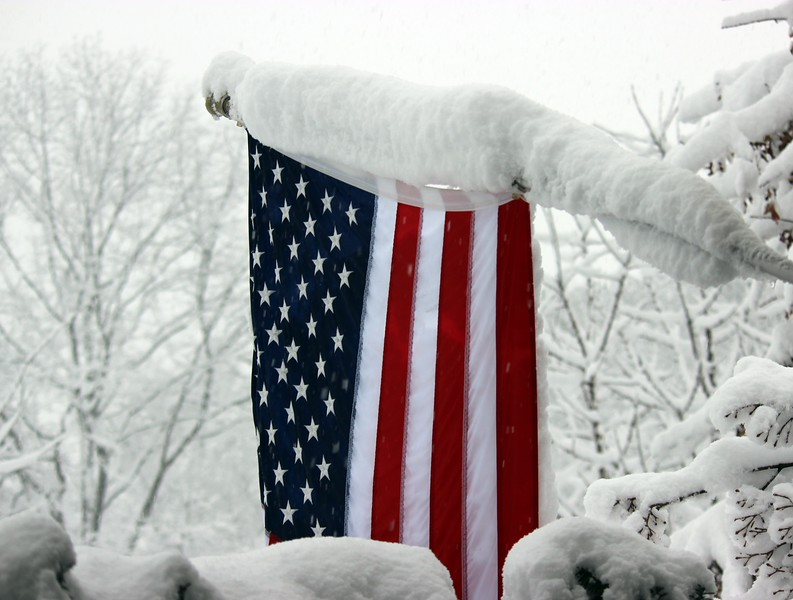 The American Flag in Snow