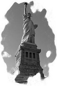 Statue of Liberty in black and white tones