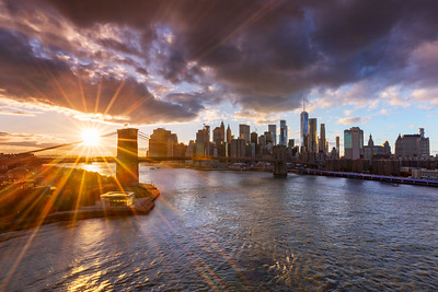 Sunset Sunburst over the Brooklyn Bridge and Manhattan