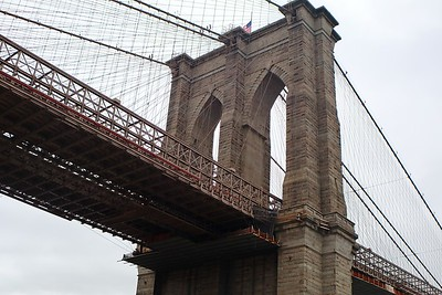 The famous foreshortening of the Brooklyn Bridge