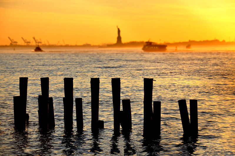 Wood Pilings and the Statue of Liberty from Brooklyn Bridge Park. 2015.