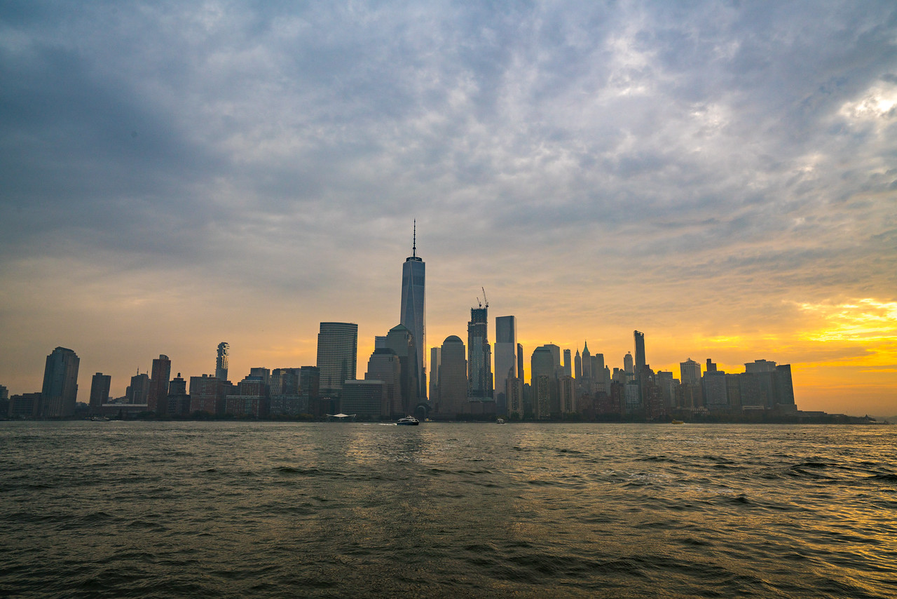 New York skyline at sunrise from New Jersey