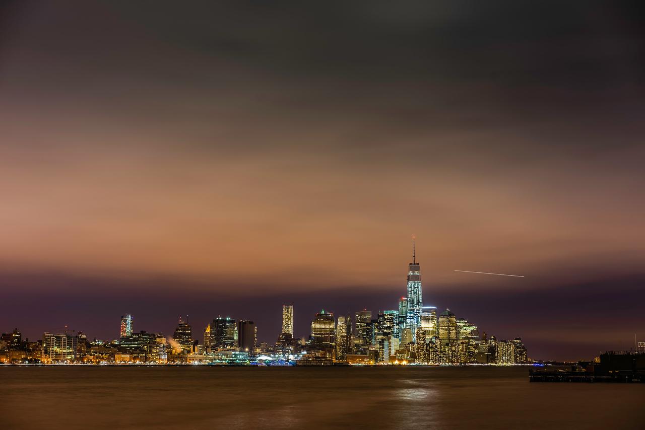 Cold night over lower Manhattan.