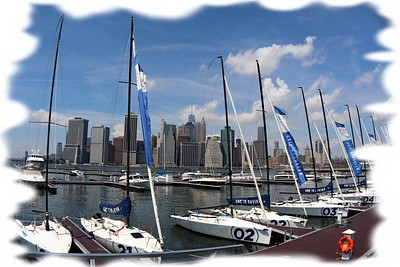 Skyscrapers of Manhattan and sails