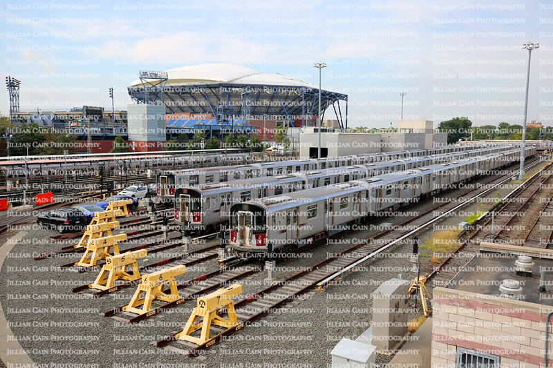 Trains parked at the Long Island Rail Road yard adjacent to the Arthur Ashe Tennis Stadium.