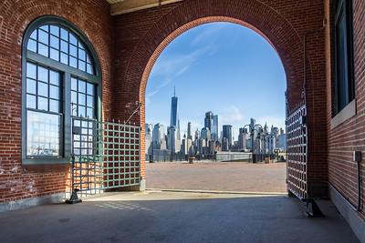 New York skyline from Central Railroad of New Jersey Terminal