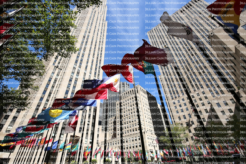 Looking up at the flags of Rockefeller Center.   Flags of the United Nations member countries, the U.S. States and its territories are on display.