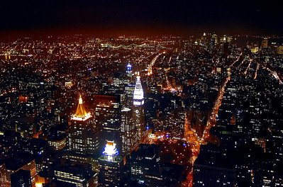 NYC night skyline - Empire State Building view