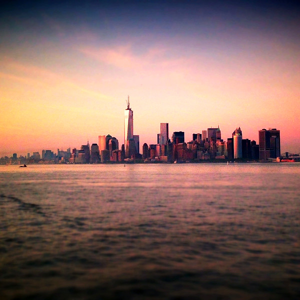 Manhattan at sunset from New York Harbor. 2013.